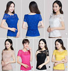 Fashion Women Lace Floral Slim Fit Short Sleeve Girl Tops T Shirt Blouse