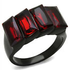 Black and Red Synthetic Garnet Fashion Ring sizes 5 - 10 Stainless Steel 4 Stone