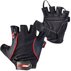 Body Building Gym Fingerless Weight Lifting Padded Gloves Velcro Bar Leather