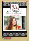 Personalised Black Floral Birthday Party PHOTO Poster Banner N41. A4 or A3 Size