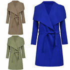 NEW LADIES WATERFALL BELT JACKET DRAPED WOMENS CARDIGAN TRENCH COAT ONE SIZE