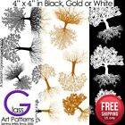 ​Tree of Life Fusing Glass Decal Ceramic Waterslide Enamel-Black-White-Gold image
