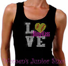 Love - Softball HEART - 2 Lines - Iron on Rhinestone Tank Top - Bling Sports Mom