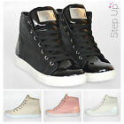 NEW Women's Woven Pattern Lace Up High Top Trainers