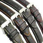 Padded Alligator Grain Leather Watch Band Strap - Coloured Contrast Stitching