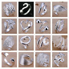 *uk* 925 Silver Plt Adjustable Open Band Thumb Rings Ladies Statement Gift Wrap