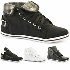 CHILDRENS KIDS GIRLS CANVAS FLAT LOW HI HIGH TOPS ALL LACE UP TRAINER SHOE SIZE
