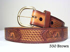 REDUCED! New Mens Cowhide Genuine Leather Wolf Belt Black or Brown All Sizes