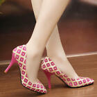 New Women's Shallow PU Leather Point Toe Pattern Fashion Casual Stilettos Shoes