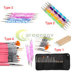 UV GEL & Acrylic Nail Art Tips Design Dotting Painting Pen Polish Brush Set
