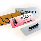 Personalised Metal Name Badge 85 x 35mm Pin/ Magnet Wedding Hen & Stag