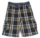 Boys Urban Pipeline Navy's Plaid Longer Style Cargo Shorts 14 OR 16 Adj.Waist