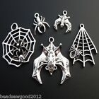 ANTIQUE SILVER TONE GOTHIC SPIDER & BAT  PENDANT CHARMS MIX - HALLOWEEN EMO GOTH