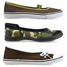 Ladies Womens New Flat Slip On Canvas Pumps Plimsolls Trainers Casual Shoes Size