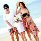 New Summer Family outfits Mum Girls long Dress, Father boys t shirt+Pants sets