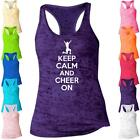 Keep Calm And Cheer On Burnout Tank Top Racerback Cheerleader - B807
