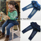 2016 Spring Baby Girls Child Kids Knee Diamond Culottes Blue Jeans Trousers 3-8Y