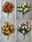 12 head artificial tulip bunch bushes flowers red orange cream purple choose