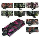 SILK JEWELRY TRAVEL BAG Black Brocade Fabric Organizer Roll Pouch Carrying Case