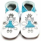 Inch Blue Girls Luxury Leather Soft Sole Baby Shoes - Fairy Princess White  Blue