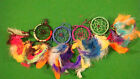 ***CLEARANCE SALE*** SMALL DREAM CATCHERS WITH MULTI COLOUR RASTA FEATHERS