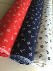 PolyCotton Fabric Ankers Anchors Wheels Red White and Blue Navy Nautical Ocean