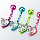 Neon Titanium Anodized Heart Prong Set Belly Ring  14GA
