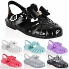 LADIES GIRLS WOMENS JELLY SANDALS SUMMER BEACH BOW FLIP FLOPS RETRO SHOES SIZE