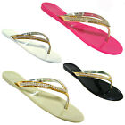 WOMENS JELLY FLIP FLOPS DIAMANTE TOE POST LADIES FLAT SUMMER SANDALS BEACH SHOES