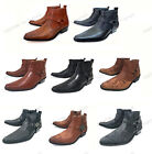 Mens Cowboy Boots Western Leather Lined Ankle Harness Strap Zipper Shoes Sizes