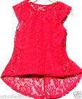 . NEW*GIRLS**HOT PINK**2 PIECE**CAP SLEEVE LACE TOP WITH VEST TOP SET(7 -13 yrs)
