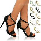 New Womens Ladies Strappy Stilettos High Heels Shoes Ankle Strap Sandals Size UK