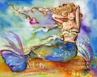 Pretty Blue Purple Pinks Golden Haired Mermaid  Nautical Wall Art