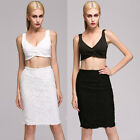Black White Crop Top Lace Two Piece Celeb Style Boutique Co Ord Two Piece Set