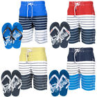 Smith & Jones Striped Swim Shorts & Flip Flops Set  Mens Size