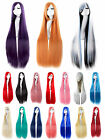 100cm Women Anime Costume Long Straight Cosplay Full Wig Party Hair Dress Muilti