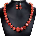 Natural Red Coral 925 Sterling Silver Necklace Earrings Set Bracelet Jewellery