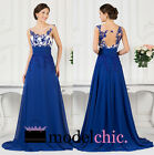 Blue Sequins Embellished Chiffon Prom Bridesmaid Wedding Maxi Dress Size AU6-20