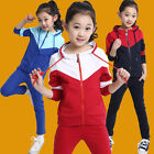 New 100% Cotton Kids Girls Sport Suit Long Sleeve Hoodie 2 Pieces Blue Red 3~9Y
