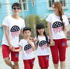 Fashion cotton Family outfits Cartoon flag woman girls man Boys sets 2color