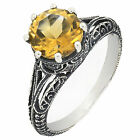 Vintage Style Genuine Yellow Citrine Sterling Silver Ring Antique Finish R173CT