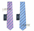 HUGO BOSS LUXURY CHECK TIE/TIES BLUE /PINK MADE IN ITALY 100% SILK NEW Was £65
