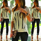 Sexy Womens New Short Sleeve Loose White T-Shirt Summer Casual Tops Blouse