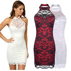 Sexy Womens Lace Bodycon Backless Chiffon Party Evening Cocktail Mini Dress 6-16