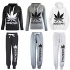 NEW WOMENS ADDICTED CANNABIS PRINT TRACKSUIT HOODY JUMPER JOGGERS 8 10 12 14