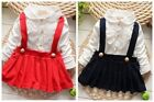 Baby girls summer red navy pinafore lace party princess wedding dress (319 341)
