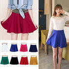 Soft Women Stretch High Waist Skirt Plain Skater Flared Pleated Sexy Mini Dress