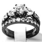 WEDDING RINGS 2 pc Diamond Cut Engagement SET PREMIUM 925 Sterling Silver Black