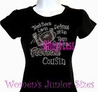 Football Cousin - Touch Down - Rhinestone Iron on T-Shirt - Bling Sports Top