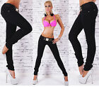 Sexy New Women's Black Stretchy Jeans Trousers Skinny Slim Incl. Belt  L 058